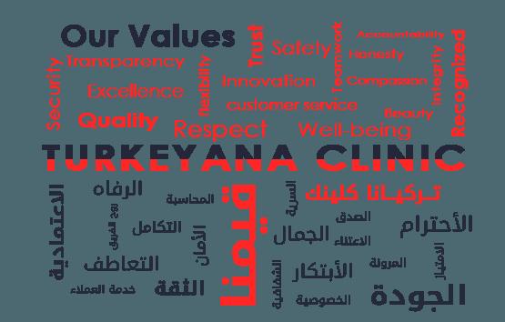 تركيانا كلينيك قيم قيمنا الاعتمادية، الرفاه روح الفريق التعاطف التكامل الثقة خدمة العملاء الأمان التكامل المحاسبة الشفافية السرية الجمال الصدق الاعتناء المرونة الابتكار الخصوصية الجودة الامتياز الاحترام